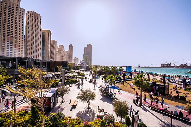 elevated view of jumeirah beach village development - jumeirah stock-fotos und bilder