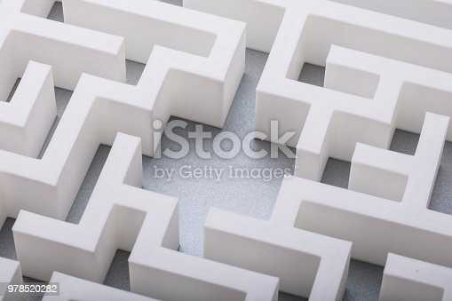 Elevated View Of Abstract Empty White Labyrinth