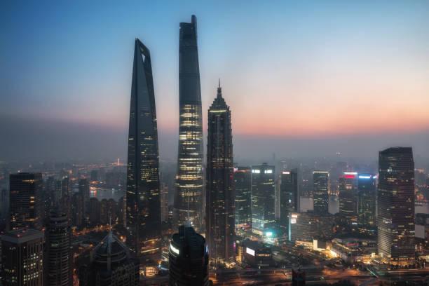 Erhöhter Blick auf Lujiazui, shanghai-China. – Foto