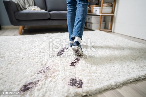 Elevated View Of Person Walking With Muddy Footprint On Carpet