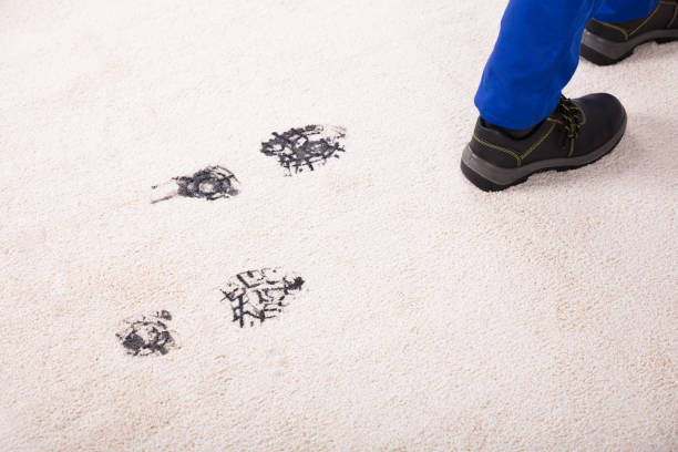 elevated view of muddy footprint on carpet - dirty shoes stock photos and pictures