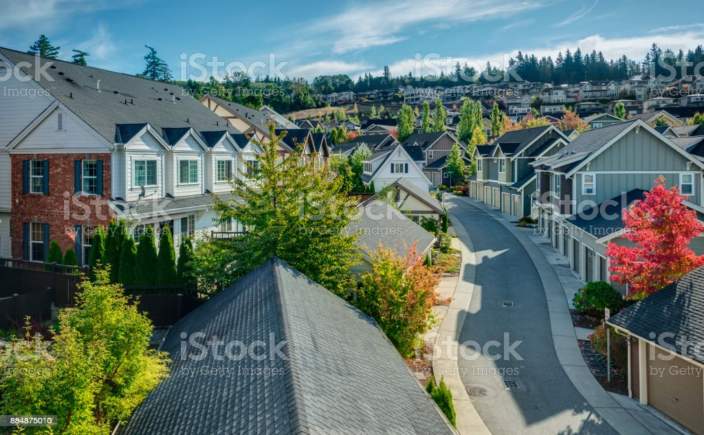 Elevated View of Residential Street royalty-free stock photo
