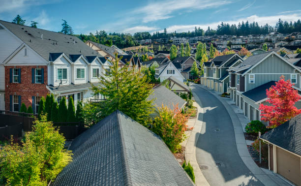 Elevated View of Residential Street Houses line a Curvy Road that cuts through Residential Neighborhoods in the Issaquah Highlands on an Autumn Morning washington state stock pictures, royalty-free photos & images