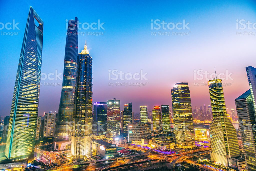 elevated view of Shanghai at Sunset stock photo