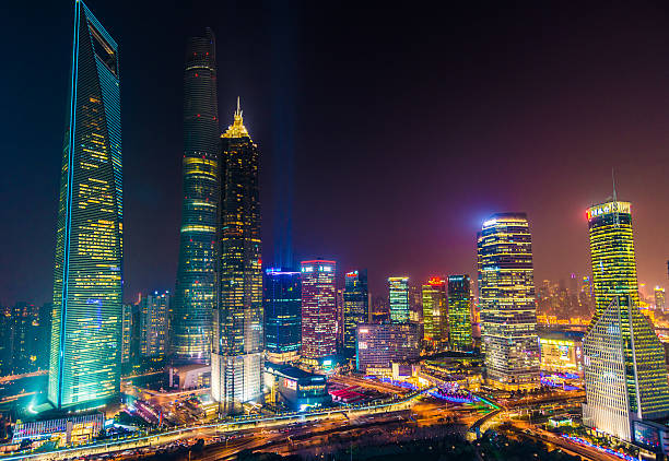 elevated view of Shanghai Skyline. stock photo