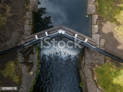 Elevated view of the Grand Canal, Dublin, Ireland.