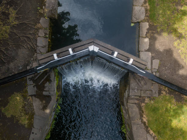 Elevated view of the Grand Canal, Dublin, Ireland stock photo