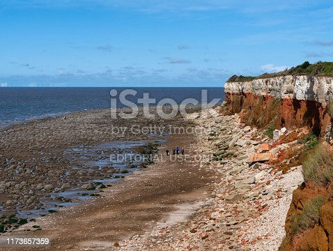 Seen from an elevated position, people walking along the beach and exploring the rock pools at Hunstanton in North West Norfolk, Eastern England, on a sunny September day. Hunstanton is a traditional English seaside resort, famous for its striped cliffs as well as its unusual rocky beach. The stratified cliffs comprise layers of carrstone (sandstone cemented with iron oxide which gives the orange rusty hue), red chalk and white chalk (limestone) and are rich in fossils. The cliffs are brittle and frequent rock falls make fossil hunting a popular pastime.