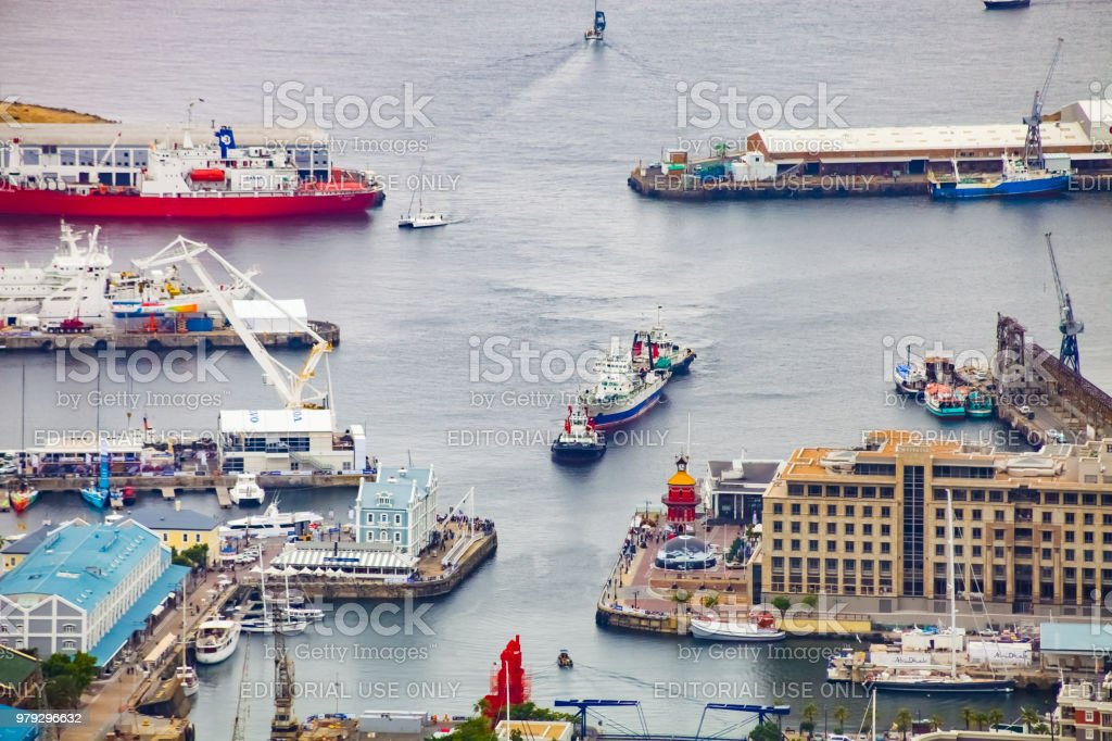 Elevated view of the V&A Waterfront in Cape Town harbor stock photo