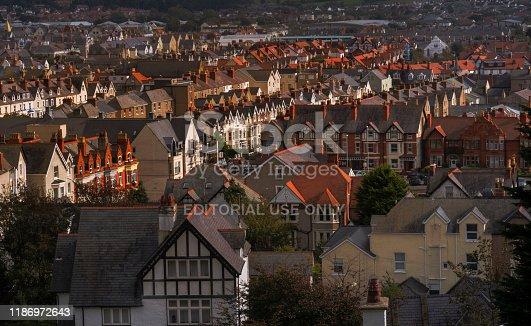 elevated view of Victorian era buildings in a neighborhood in the coastal resort town of Llandudno, Wales