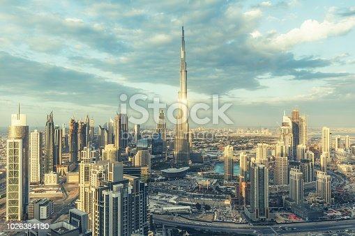 512697874 istock photo DUBAI, UAE - FEBRUARY 18, 2017: Elevated view on downtown Dubai, UAE, with Burj Khalifa and skyscrapers of the business bay. 1026384130