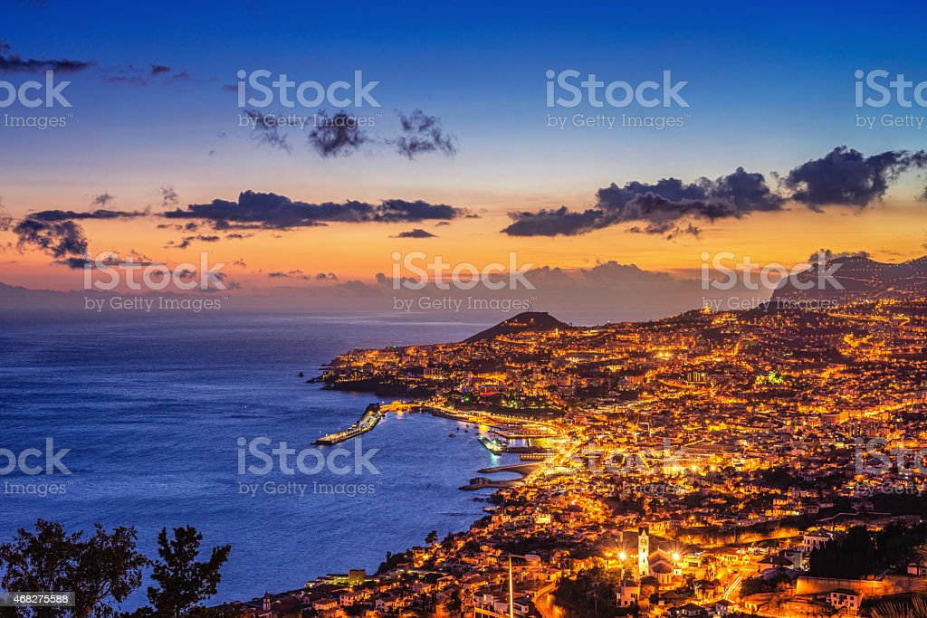 Elevated view on Funchal (Madeira) at night stock photo