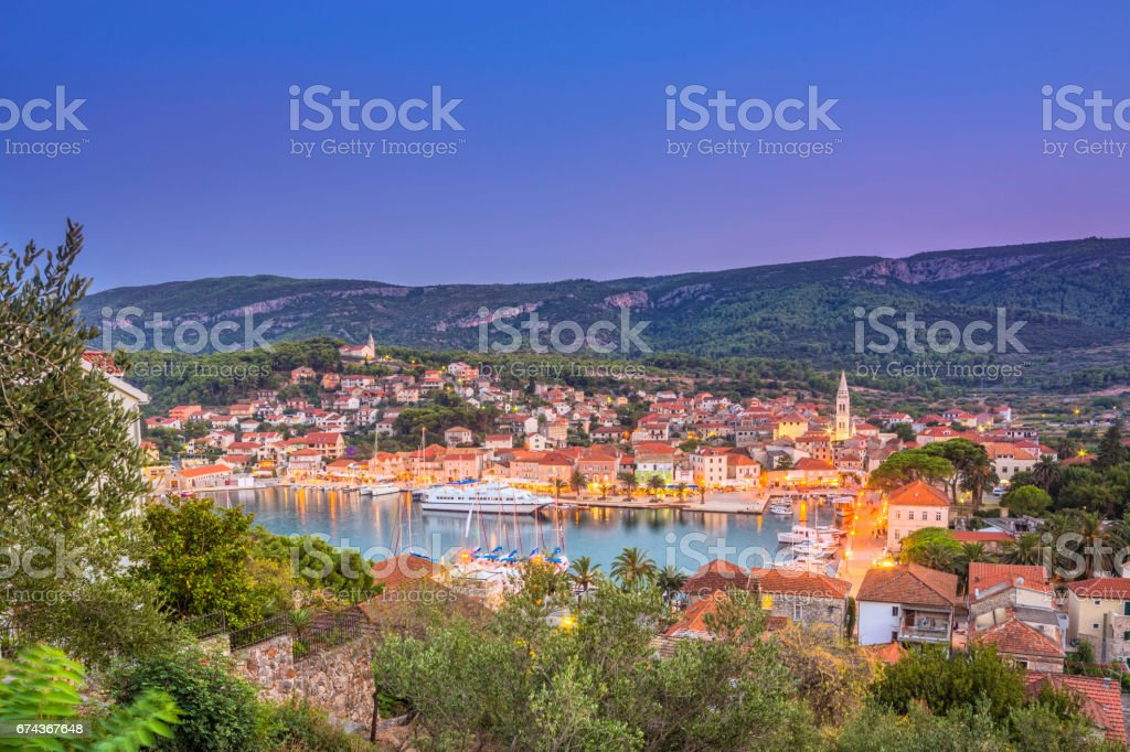 Elevated view on the town and harbour of Jelsa, Hvar (Croatia) stock photo