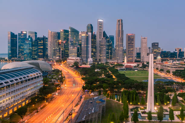 Elevated view over Financial district at  dusk, Singapore stock photo