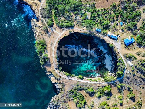 Elevated view over the Broken Beach in Nusa Penida - Indonesia