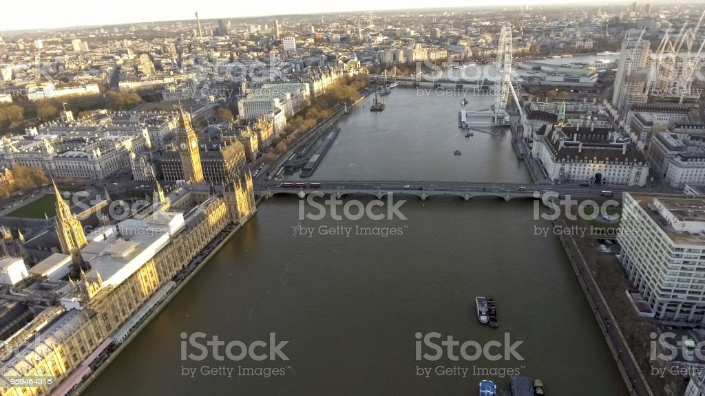 Elevated view over the City of London along the River Thames stock photo