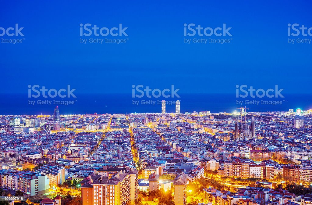 Elevated view over the skyline of Barcelona at dusk stock photo