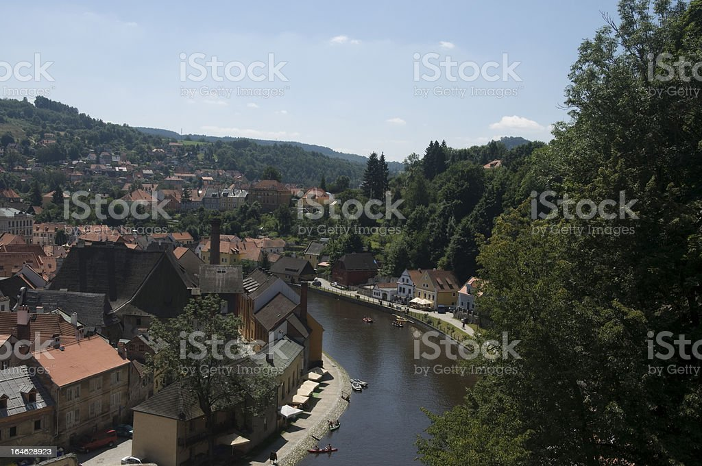 Elevated view over the Vltava River, Cesky Krumlov, Czech Republic royalty-free stock photo