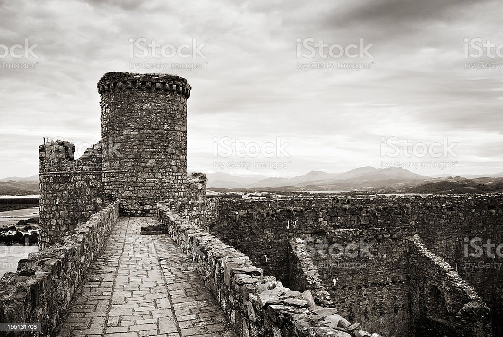 Elevated Walkway between Harlech Castle towers stock photo