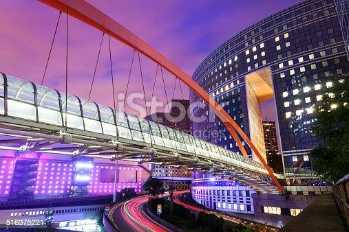 889637894 istock photo Elevated Walkway & Office Buildings at Dusk, La Defense, Paris 516375221
