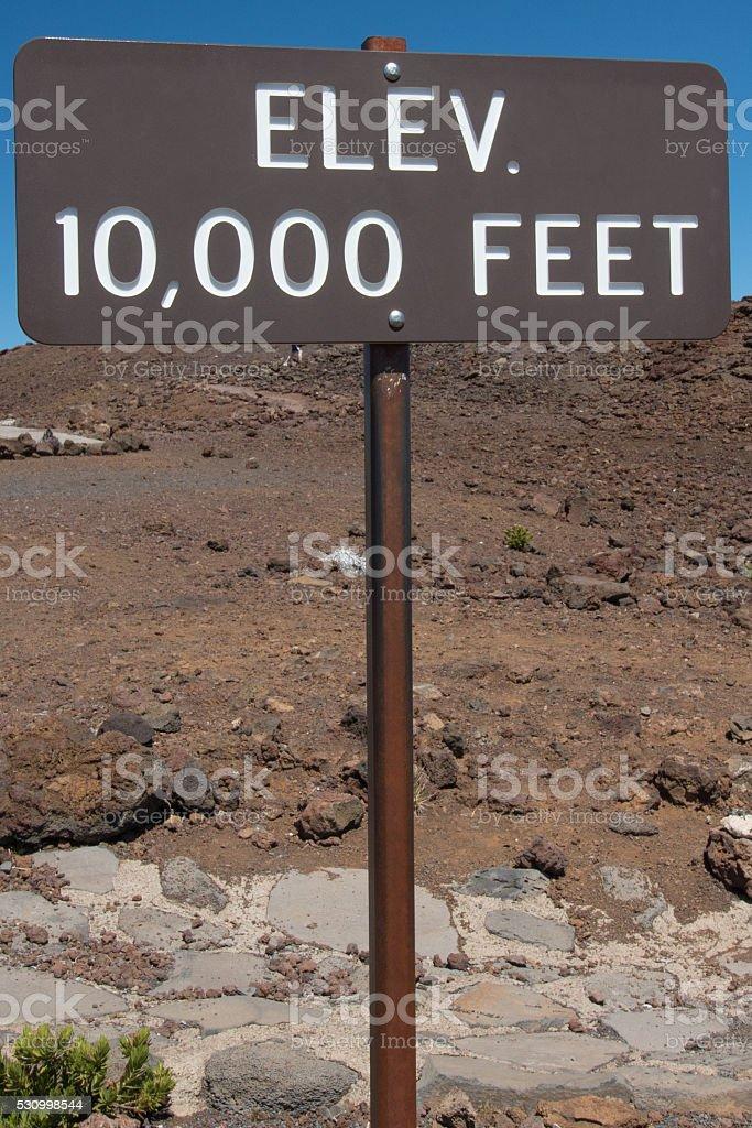 Elevation 10000 Feet Sign stock photo