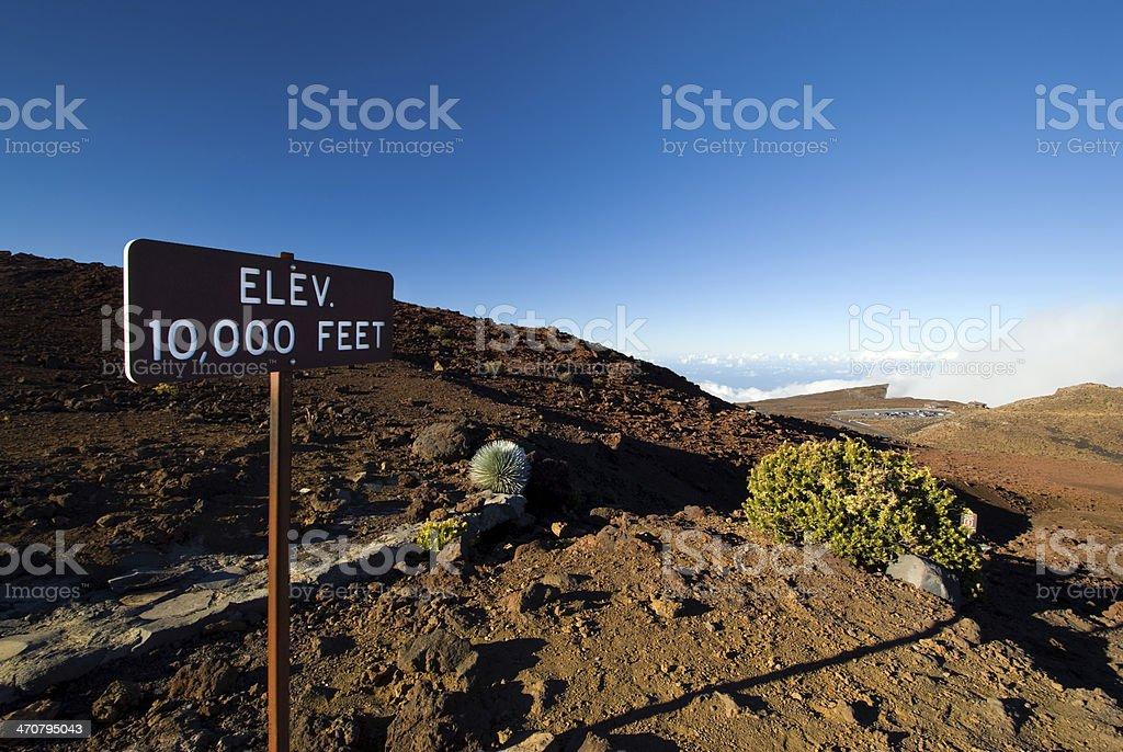 Elevation 10,000 ft sign, Haleakala National Park, Maui, Hawaii stock photo