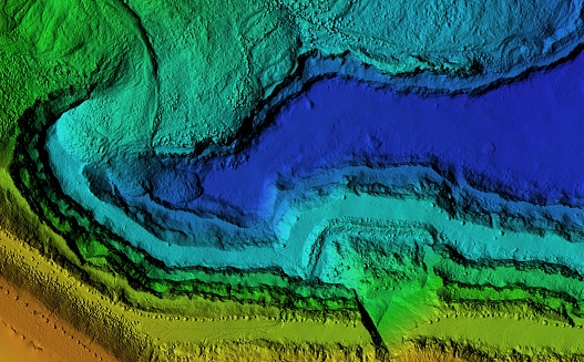 DEM - digital elevation model. Product made after proccesing pictures taken from a drone. It shows excavation site with steep rock walls