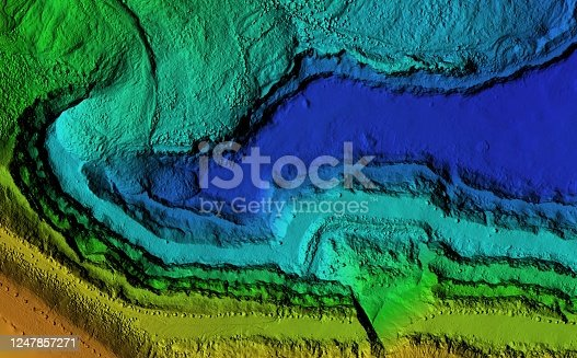 istock Elevation model of an excavation site with steep rock walls 1247857271