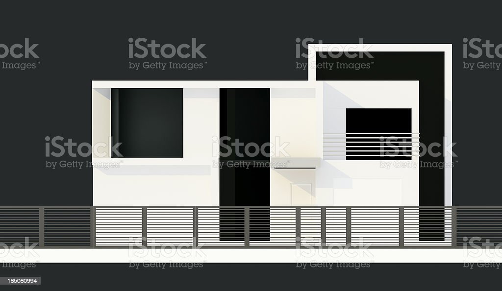 Elevation Of Modern House 3d Model Concept Wire Frame