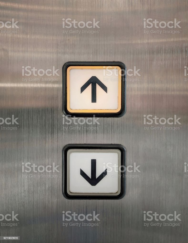Elevator buttons for up and down with arrows. stock photo