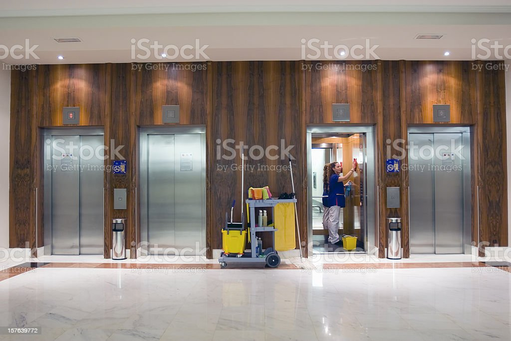 Elevator clean up stock photo