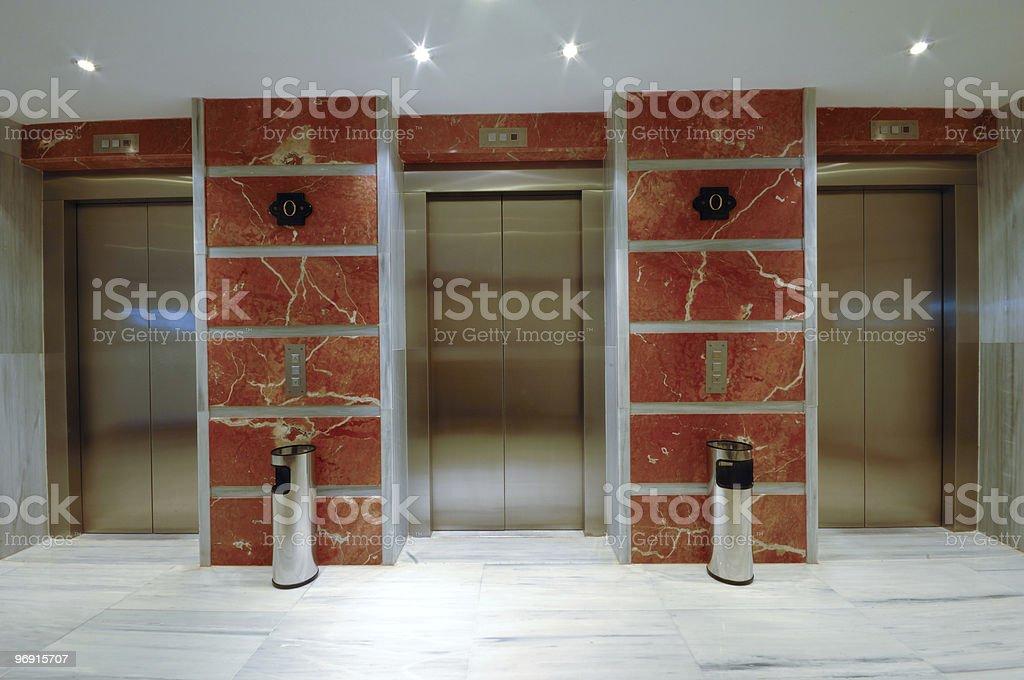 Elevator doors in modern hotel royalty-free stock photo