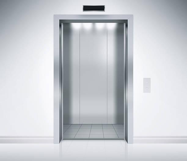 ascensore porte aperte - ascensore foto e immagini stock