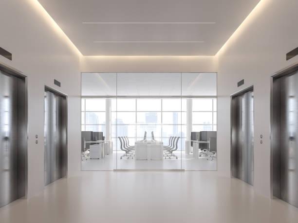 Aufzugshalle vor dem modernen Büro 3d render – Foto