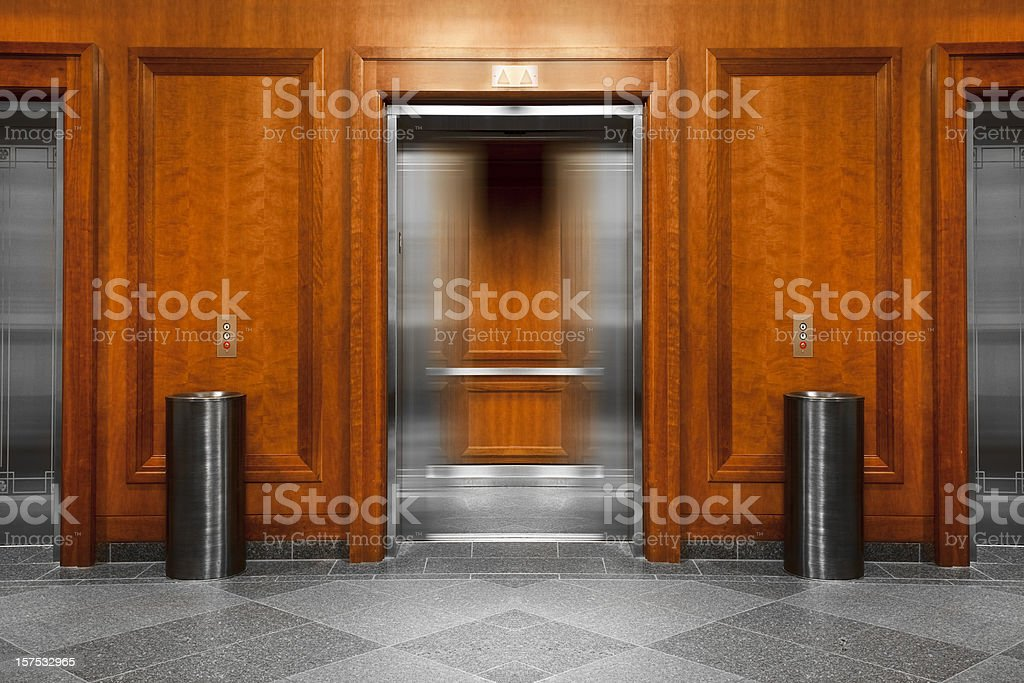 Elevator in a modern office building stock photo