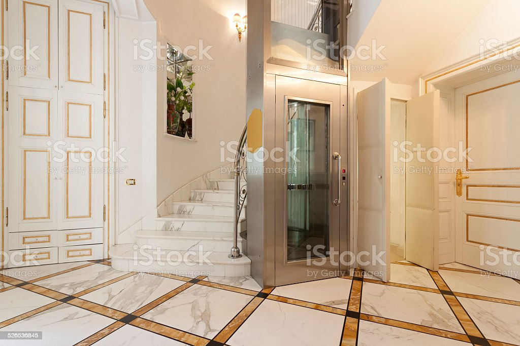 Elevator in luxury villa stock photo
