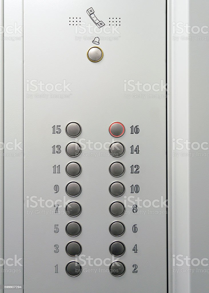 Elevator metal control panel with round buttons with numbers – Foto