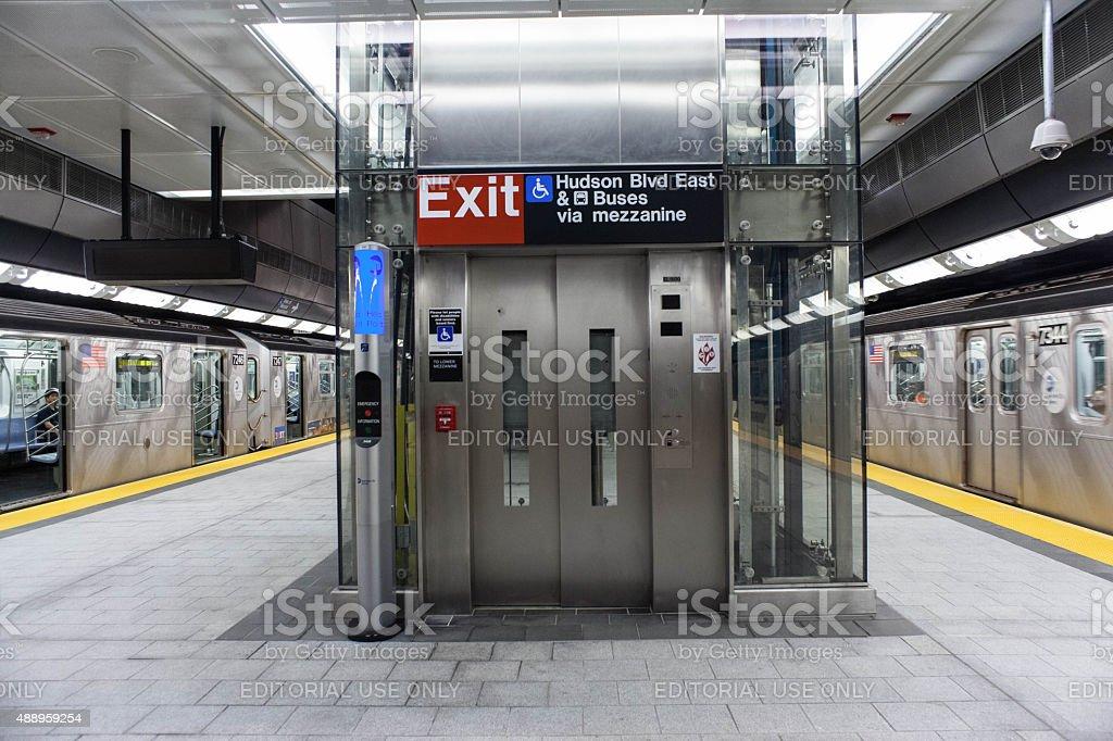 Elevator on Hudson Yards #7 train station platform. stock photo