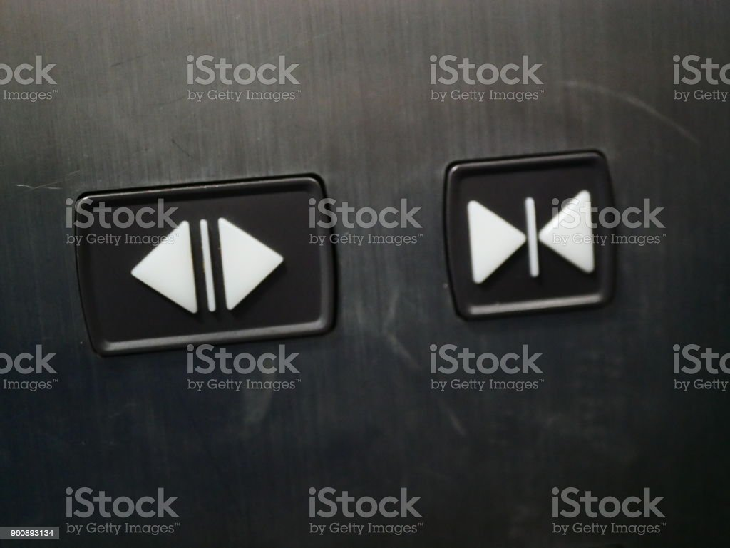 elevator push buttons close-open stock photo