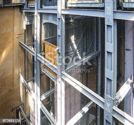Elevator shaft and elevator of the old Elbe tunnel in Hamburg, Germany