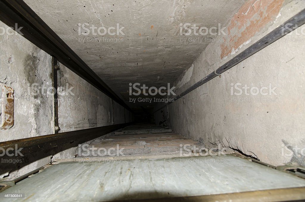 Elevator shaft stock photo