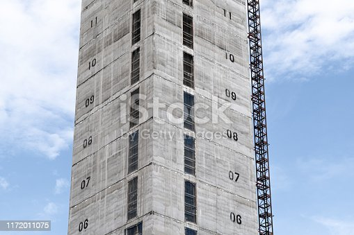istock Elevator shaft under construction on a building site 1172011075