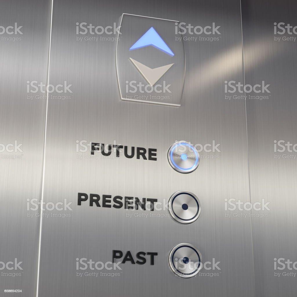 Máquina de tiempo del elevador va al futuro - foto de stock