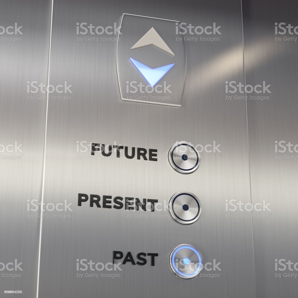 Elevator time machine going to the past - foto de stock