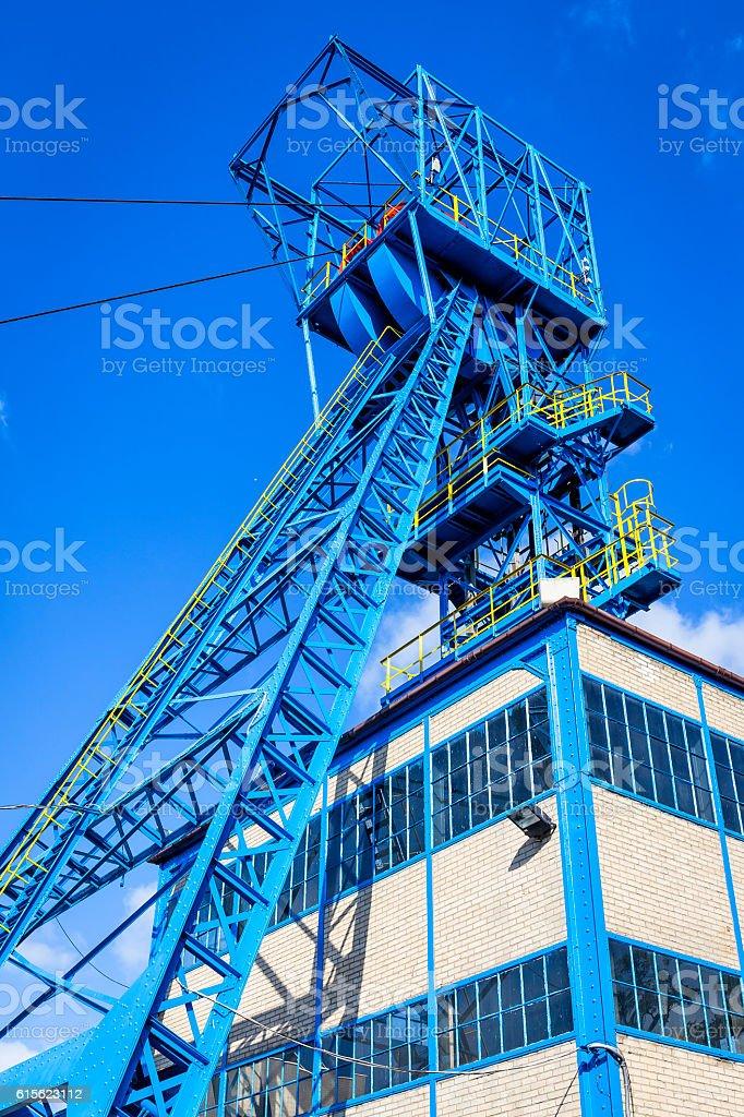 Elevator tower in Coal Mine, Poland stock photo