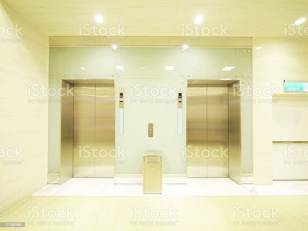 Elevator waiting room stock photo