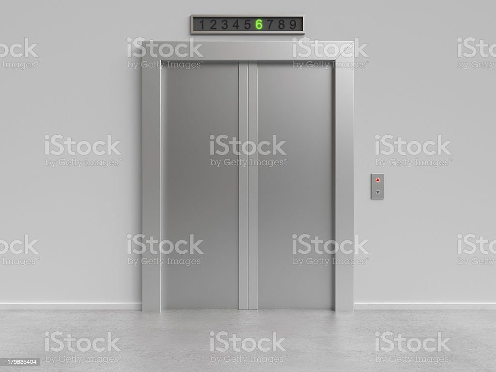 elevator with closed doors stock photo