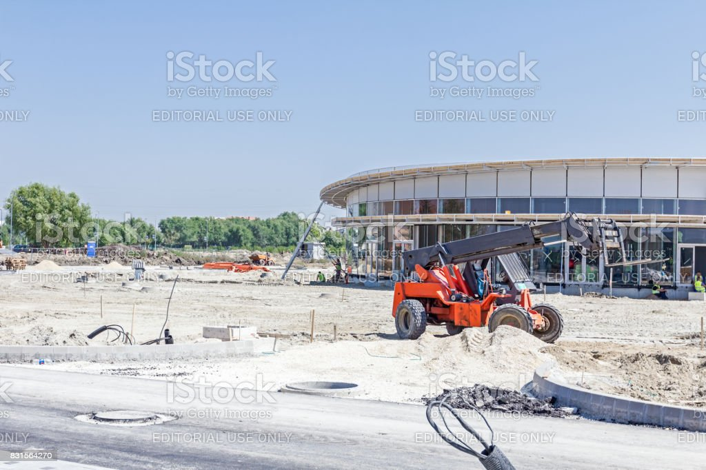 Elevator with forklift on building site, Logistics concept stock photo