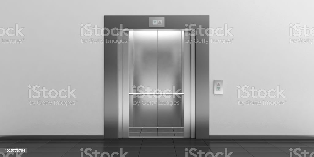 Elevator with open doors. 3d illustration royalty-free stock photo