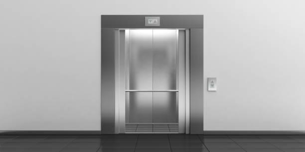 elevator with open doors. 3d illustration - ascensore foto e immagini stock